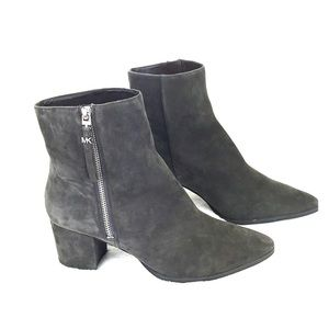 Michael Kors Dark Gray Suede Pointy Toe Ankle Boot